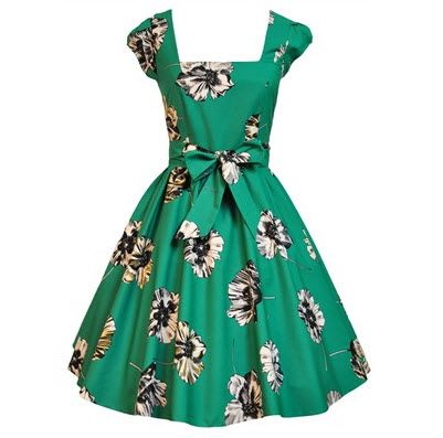 Lady V London UK22 Jade Floral Swing Dress Shop